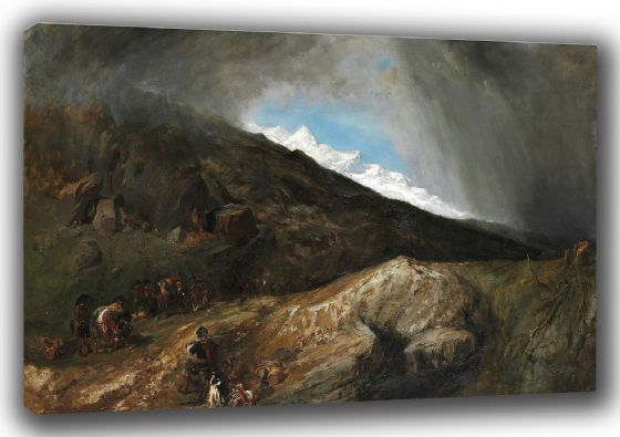 Stanfield, (William) Clarkson Frederick: Mountainous Landscape with a Hunter and Travellers. Fine Art Canvas. Sizes: A3/A2/A1 (003473)